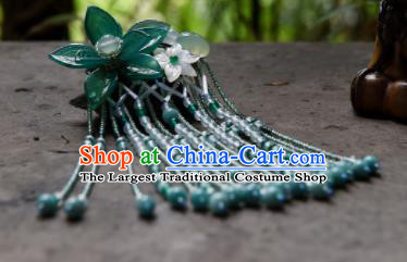 Chinese Ancient Princess Hair Accessories Green Lotus Tassel Hair Claw Traditional Hanfu Hairpins for Women
