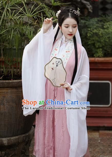 Traditional Chinese Ming Dynasty Palace Princess Historical Costume Ancient Drama Taoist Nun Pink Hanfu Dress for Women