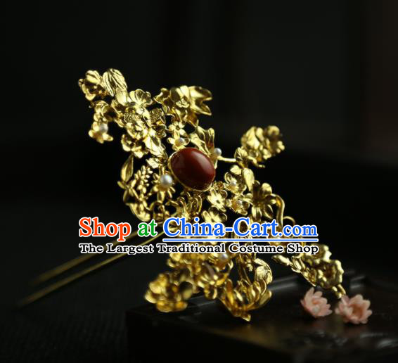 Chinese Ancient Princess Golden Longevity Hairpins Traditional Hanfu Hair Clip Hair Accessories for Women