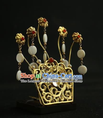 Chinese Ancient Princess Golden Hairpins Tassel Hair Crown Traditional Hanfu Hair Clip Hair Accessories for Women
