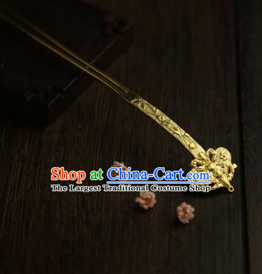 Chinese Ancient Princess Golden Butterfly Hairpins Traditional Hanfu Hair Clip Hair Accessories for Women