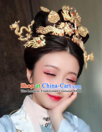 Chinese Ancient Ming Dynasty Bride Hairpins Phoenix Hair Clip Traditional Hanfu Hair Accessories Complete Set for Women