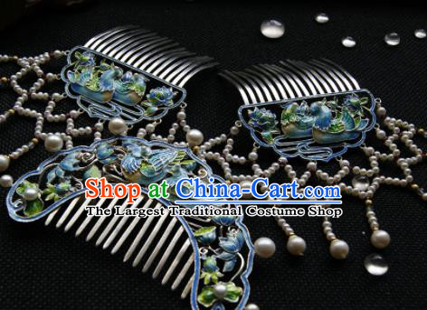 Chinese Ancient Ming Dynasty Hairpins Enamel Hair Comb Traditional Hanfu Hair Accessories for Women