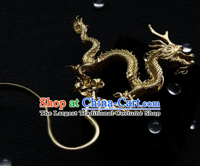 Chinese Ancient Ming Dynasty Hairpins Golden Dragon Hair Clip Traditional Hanfu Hair Accessories for Women
