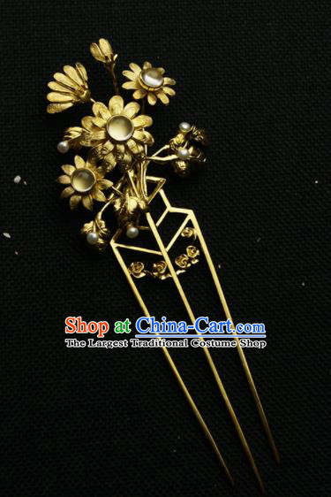 Chinese Ancient Ming Dynasty Golden Sunflowers Hairpins Hair Clip Traditional Hanfu Hair Accessories for Women