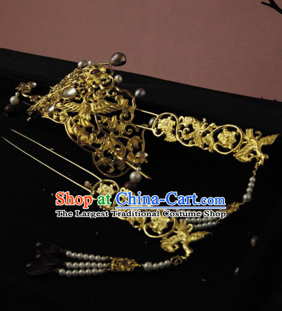 Chinese Ancient Ming Dynasty Golden Crane Hairpins Hair Crown Traditional Hanfu Hair Accessories for Women