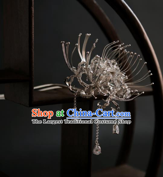 Chinese Ancient Ming Dynasty Sliver Manjusaka Tassel Hairpins Traditional Hanfu Hair Accessories for Women