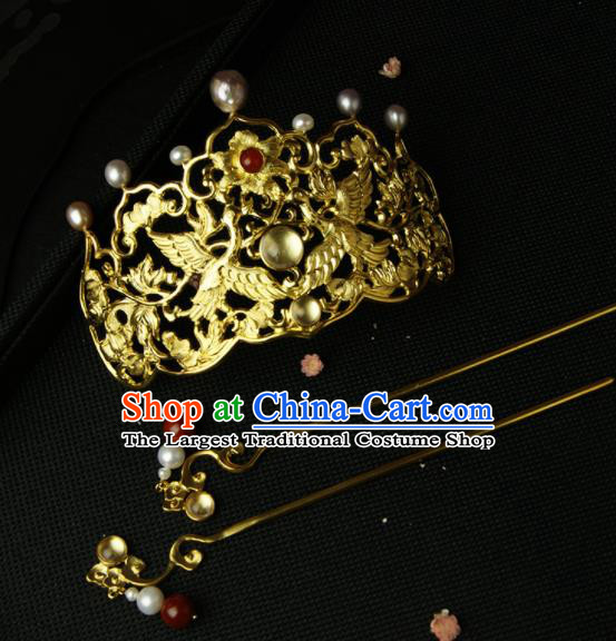 Chinese Ancient Ming Dynasty Hairpins Golden Crane Hair Crown Traditional Hanfu Hair Accessories for Women