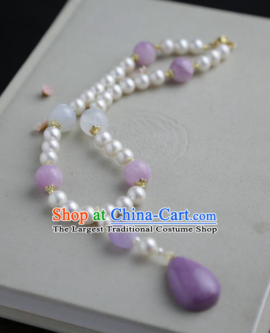 Chinese Ancient Court Purple Mica Necklace Traditional Princess Hanfu Pearls Necklet Accessories for Women