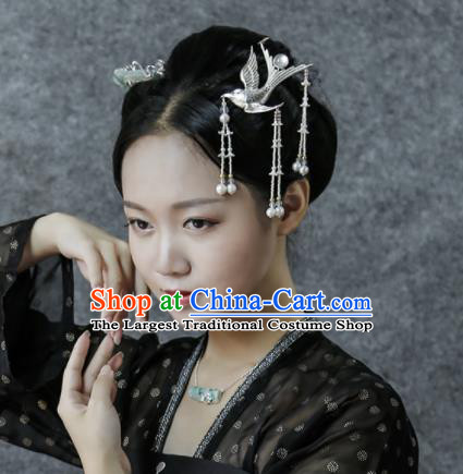 Chinese Ancient Ming Dynasty Sliver Bird Tassel Hairpins Hair Clip Traditional Hanfu Hair Accessories for Women