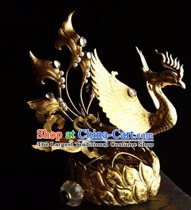 Chinese Ancient Tang Dynasty Court Queen Phoenix Coronet Traditional Hanfu Hair Accessories for Women