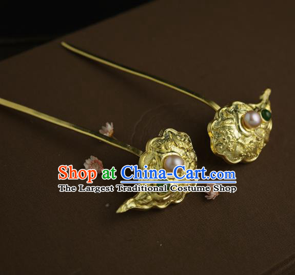 Chinese Ancient Queen Golden Cloud Hairpins Traditional Hanfu Hair Clip Hair Accessories for Women