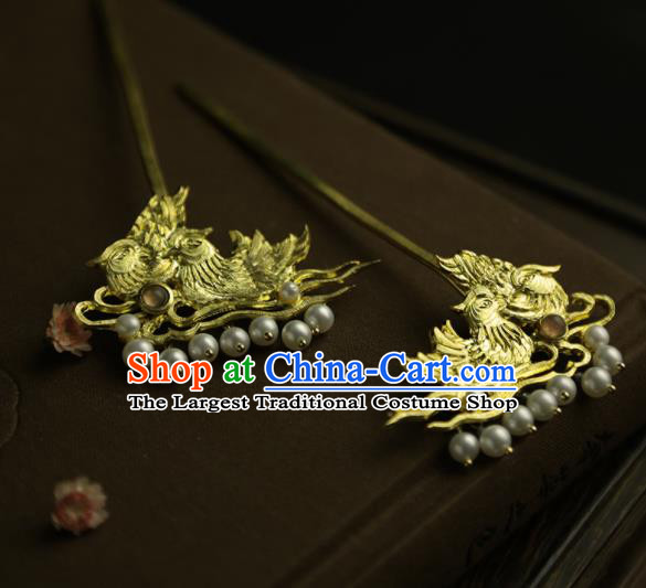 Chinese Ancient Queen Golden Mandarin Duck Hairpins Traditional Hanfu Hair Clip Hair Accessories for Women