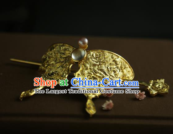 Chinese Ancient Queen Golden Butterfly Hair Crown Hairpins Traditional Hanfu Hair Clip Hair Accessories for Women