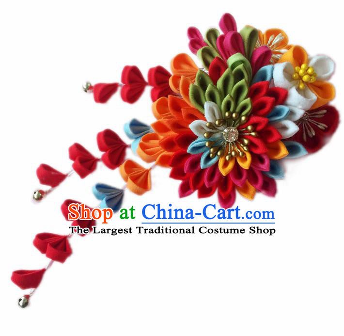 Japanese Geisha Courtesan Kimono Rosy Chrysanthemum Hair Comb Hairpins Traditional Yamato Hair Accessories for Women