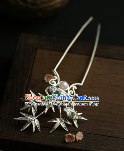 Chinese Ancient Tang Dynasty Queen Bamboo Leaf Hairpins Traditional Hanfu Hair Accessories for Women