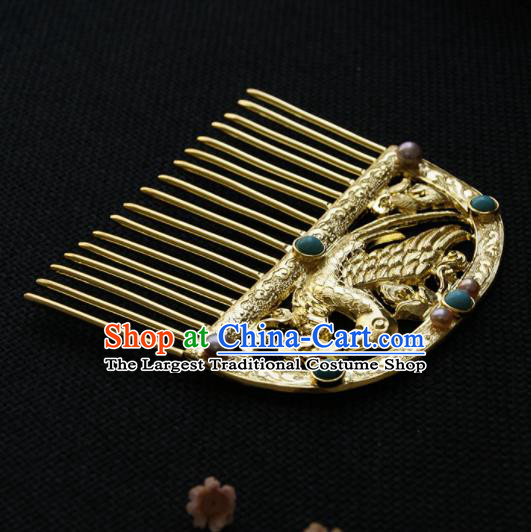 Chinese Ancient Tang Dynasty Queen Golden Parrot Hair Comb Hairpins Traditional Hanfu Hair Accessories for Women