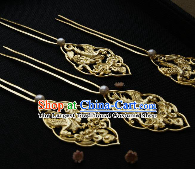 Chinese Ancient Tang Dynasty Queen Golden Parrot Hair Clip Hairpins Traditional Hanfu Hair Accessories for Women