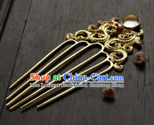 Chinese Ancient Tang Dynasty Queen Dragon Phoenix Hair Comb Golden Hairpins Traditional Hanfu Hair Accessories for Women
