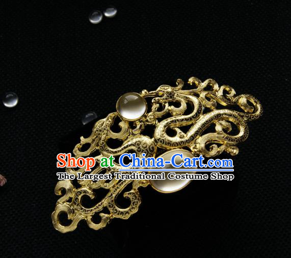 Chinese Ancient Tang Dynasty Queen Golden Dragon Hair Comb Opal Hairpins Traditional Hanfu Hair Accessories for Women