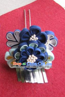 Japanese Geisha Courtesan Navy Flowers Hairpin Traditional Yamato Kimono Hair Accessories for Women
