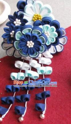 Japanese Geisha Courtesan Navy Flowers Hair Claw Hairpin Traditional Yamato Kimono Hair Accessories for Women