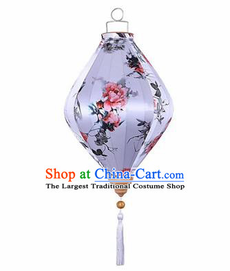 Chinese Traditional Silk Brilliant Hanging Lantern New Year Handmade Painting Peony Palace Lanterns