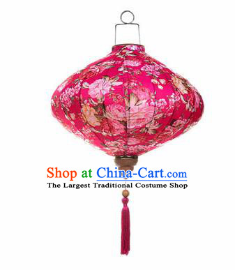 Chinese Traditional Rosy Silk Hanging Lantern New Year Handmade Painting Peony Palace Lanterns