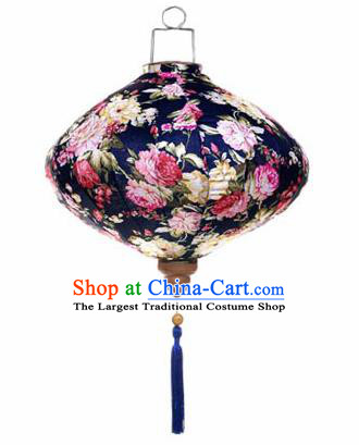 Chinese Traditional Navy Silk Hanging Lantern New Year Handmade Painting Peony Palace Lanterns
