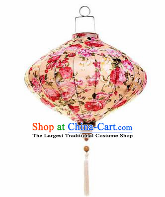 Chinese Traditional Beige Silk Hanging Lantern New Year Handmade Painting Peony Palace Lanterns