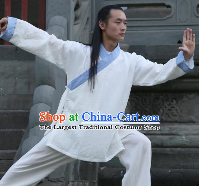 Chinese Traditional Martial Arts Blue Slant Opening Costumes Kung Fu Tai Chi Competition Clothing for Men