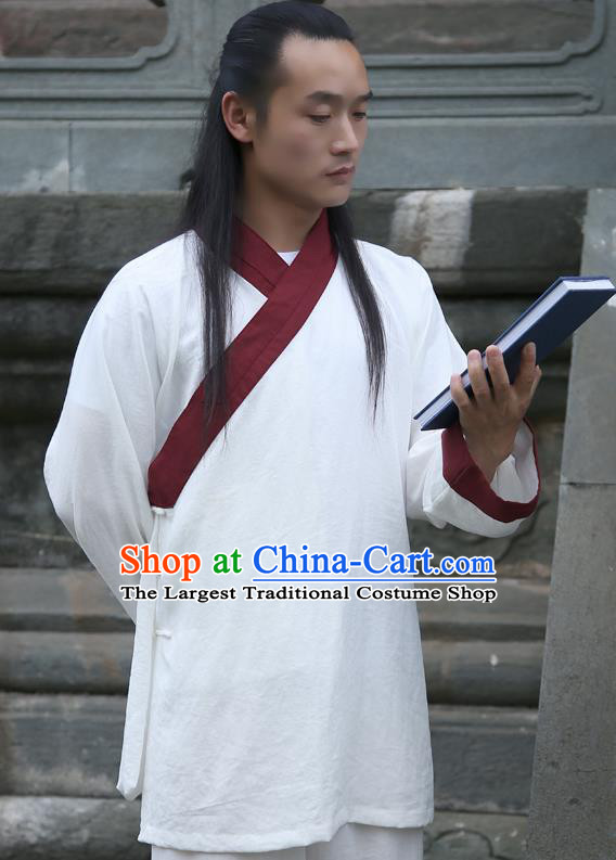 Chinese Traditional Martial Arts Red Slant Opening Costumes Kung Fu Tai Chi Competition Clothing for Men