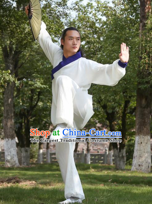Chinese Traditional Martial Arts Royalblue Slant Opening Costumes Kung Fu Tai Chi Competition Clothing for Men