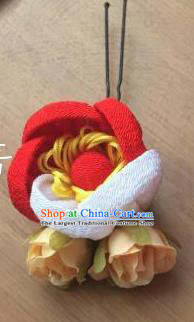 Japanese Geisha Courtesan Kimono Red Rose Hairpins Traditional Yamato Hair Accessories for Women