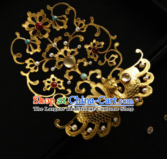 Chinese Ancient Tang Dynasty Queen Hairpins Golden Peacock Hair Crown Traditional Hanfu Hair Accessories for Women