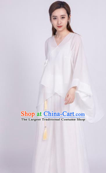 Chinese Traditional Martial Arts White Costumes Tai Chi Competition Clothing for Women