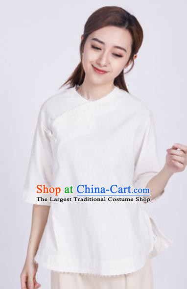 Chinese Traditional Martial Arts White Blouse Tai Chi Competition Shirt Costume for Women