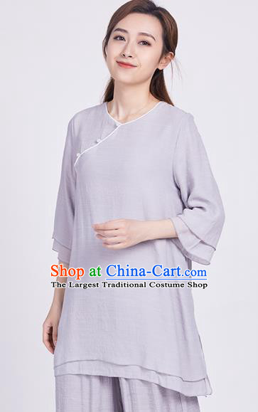 Chinese Traditional Martial Arts Grey Silk Blouse Tai Chi Competition Shirt Costume for Women