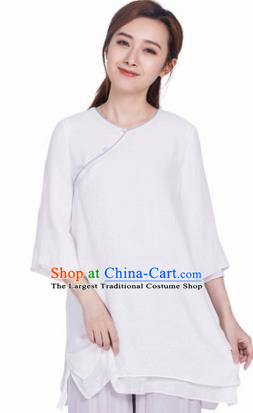 Chinese Traditional Martial Arts White Silk Blouse Tai Chi Competition Shirt Costume for Women