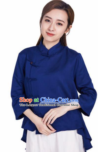 Chinese Traditional Martial Arts Navy Slant Opening Blouse Tai Chi Competition Shirt Costume for Women