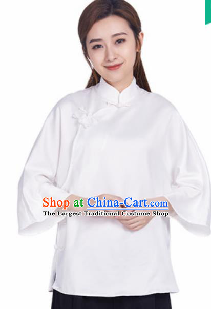 Chinese Traditional Martial Arts White Slant Opening Blouse Tai Chi Competition Shirt Costume for Women