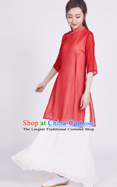 Chinese Traditional Tang Suit Martial Arts Red Slant Opening Blouse Tai Chi Competition Costume for Women