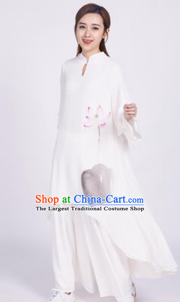 Chinese Traditional Tang Suit Martial Arts Ink Painting Lotus White Blouse Tai Chi Competition Costume for Women