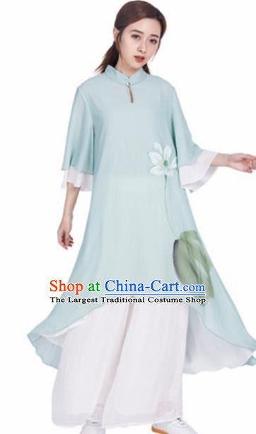 Chinese Traditional Tang Suit Martial Arts Ink Painting Lotus Green Blouse Tai Chi Competition Costume for Women