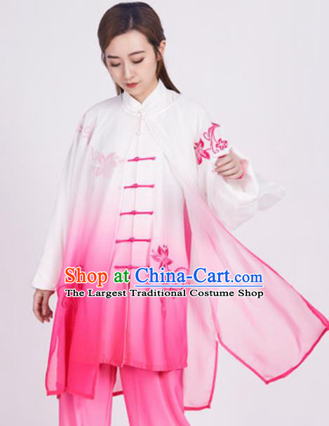 Chinese Traditional Tang Suit Rosy Clothing Martial Arts Tai Chi Competition Costume for Women