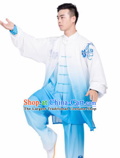 Chinese Traditional Tang Suit Blue Clothing Martial Arts Tai Chi Competition Costume for Men