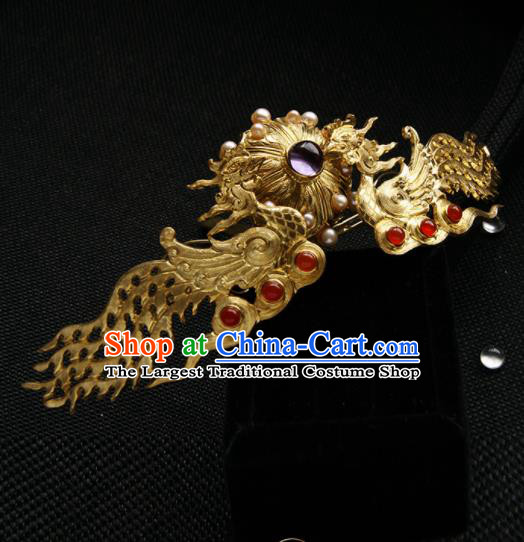 Chinese Ancient Tang Dynasty Queen Golden Phoenix Hair Comb Hairpins Traditional Hanfu Hair Accessories for Women