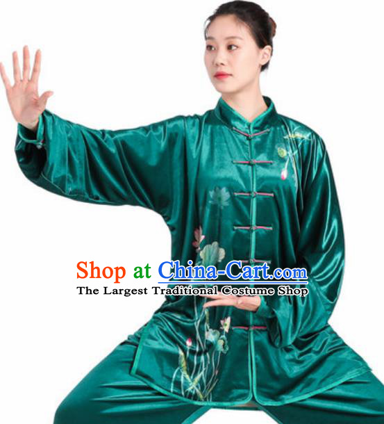 Chinese Traditional Tang Suit Green Velvet Clothing Martial Arts Tai Chi Competition Costume for Women