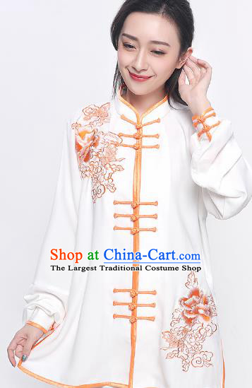 Chinese Traditional Tang Suit Orange Embroidered Clothing Martial Arts Tai Chi Competition Costume for Women
