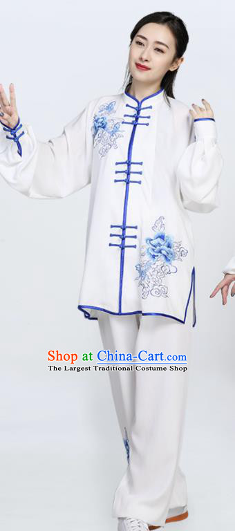 Chinese Traditional Tang Suit Blue Embroidered Clothing Martial Arts Tai Chi Competition Costume for Women